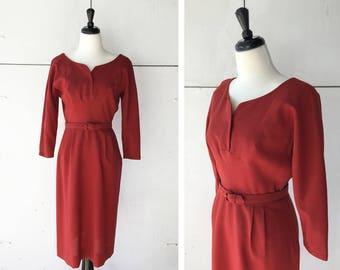 60s holiday dress   vintage sheath dress   1960s red dress