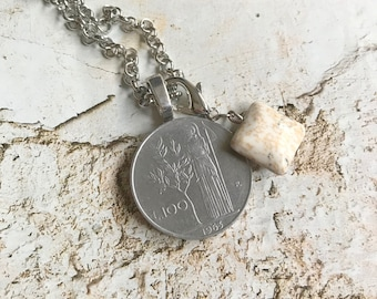 Pendant of old mint and necklace