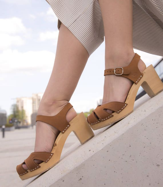 Wooden Clogs Sandals Camel Womens Beige Swedish Wood Shoes Clog Clog