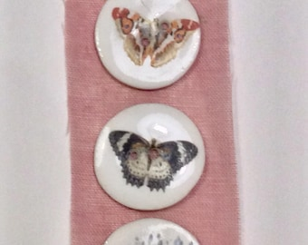 Small Butterfly Handmade Porcelain Buttons by Caroline Barnes
