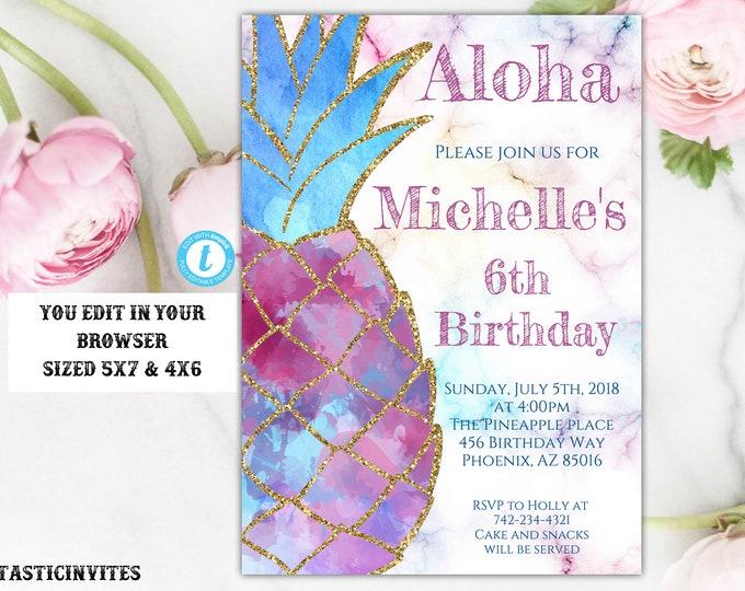 Pineapple Invitation, Pineapple Template, Pineapple Birthday Invitation, Tropical Birthday Invitation, Pineapple, Glitter, Pink, Blue, DIY