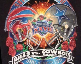 vtg 90s Super Bowl XXVII Dallas Cowboys vs Buffalo Bills Sweatshirt 1993 NFL L