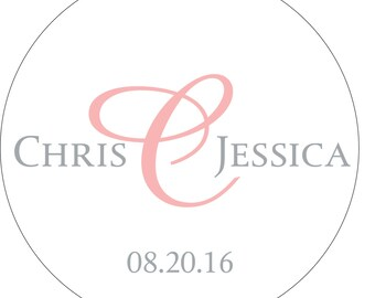 120 - 1.5 inch Custom Glossy Waterproof Wedding Sticker Labels - many designs to choose from - change designs to any color or wording WR-111