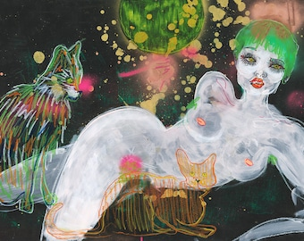 Cosmic Cat Lady / ORIGINAL / Painting / Nude / Woman / Cats / Cat art / Lesbian / Queer Art
