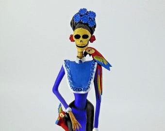 """FRIDA KAHLO CATRINA handmade clay figurine day of the dead mexican folk art 15"""""""