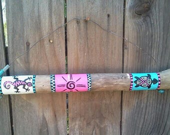 Painted Driftwood/Necklace Holder - Southwestern Design