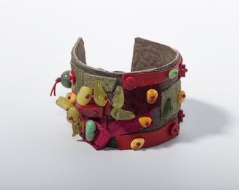 Leather Patchwork Bracelet, Colourful Leather Cuff