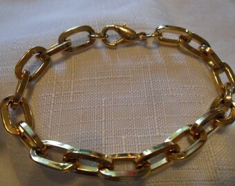 Vintage Large Link Gold Tone Chain Bracelet