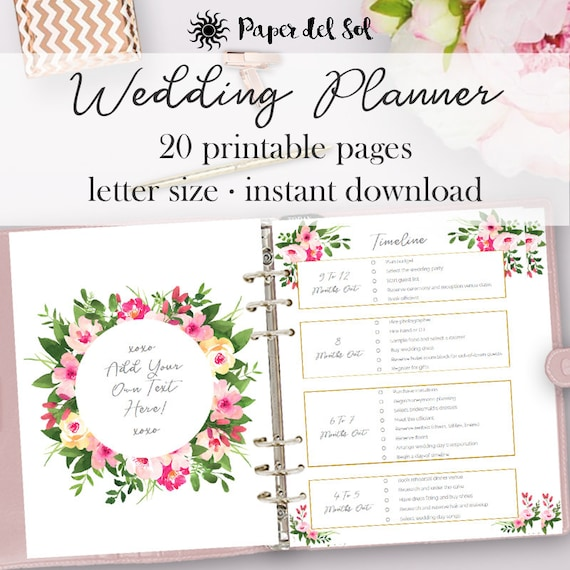 Wedding planner printable wedding planning pages do it wedding planner printable wedding planning pages do it yourself planner printables planning engagement gift letter size instant download solutioingenieria Gallery