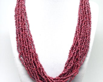 Shapely Burgundy Glass Bead Multi Strand Bohomeian Vintage Style Necklace