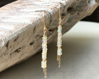 Opal Earrings, Welo Opal Earrings, Ethiopian Welo Opal Earrings, Gold Genuine Ethiopian Welo Opal Earrings, Genuine Opal Earrings
