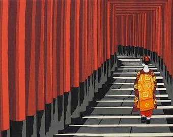 Japanese Art Tenugui 'Maiko Apprentice Geisha at Fushimi Inari Shrine Torii Gates' Kyoto Cotton Japanese Fabric w/Free Insured Shipping