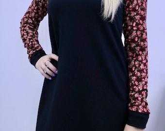 Long sleeve tunic, long sleeve tunic black flowered handle Burgundy MLcreation