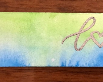 Love Watercolor Bookmark with Tassel