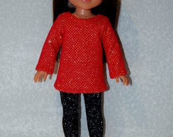 """Top and Pants for 14"""" Wellie Wishers or Melissa & Doug Doll Clothes Red sparkle top black leggings tkct1187 READY TO SHIP"""