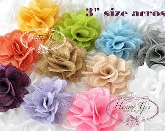 """NEW: 3"""" inch Tattered Treasures Large Burlap Linen Rose Bud Puffy Flowers. Nude Plum Pink Nude White Blue Lavender Grey - Wholesale Supply."""