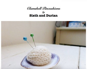 Knit pincushion pattern, pattern only, knitting pattern, pincushion pattern, sewing room, cute pincushion, beach theme, sea shell, sewing