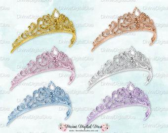 Princess Tiaras | Gold Silver Rose Gold Pink Ice Blue Lavender Diamonds | Digital Clipart Instant Download