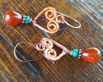 Copper Heart Earrings - Carnelian - Turquoise - Rustic - Cowgirl Jewelry - Valentines Day Gift - Gemstone Earrings by Heart of a Cowgirl