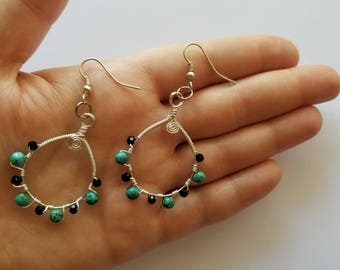 Turquoise & Black Crystal Beaded Intricately Wire Wrapped Dangle Earrings with Silver Plated over Copper Wire