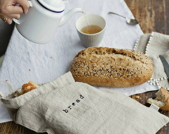 "Natural linen bread bag with hand printed logo ,,bread"", stonewashed"