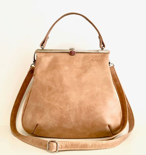 Everyday Bag, Her Leather Bag, Sling Leather Bag, Minimalist Bag Women, Leather Carryall   Brown Leather Handbag with Retro Clip Closure