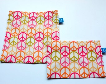 Reuseable Eco-Friendly Set of Snack and Sandwich Bags in  Peace Signs Fabric