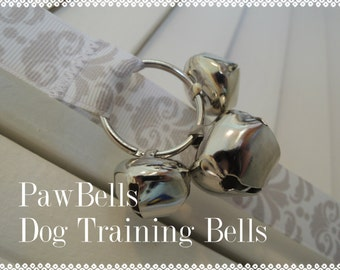 Paw Bells Dog Housebreaking Training Bells, Easy Instructions included, Grey and White Damask