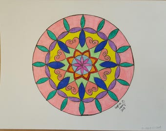 Original Colored Pencil Mandala Drawing