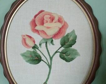 Vintage Handmade Trapunto 3-D flower in frame