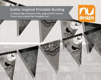 Digital Gothic Inspired Party Bunting and Layered Template - 300dpi PNG, Jpeg, PSD and SVG files