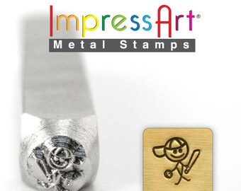 MIKEY Stick Design METAL STAMP 6mm Jewelry Steel Punch ImpressArt Boy Baseball Player Family Figure Stamps Custom Stamping Jewellery