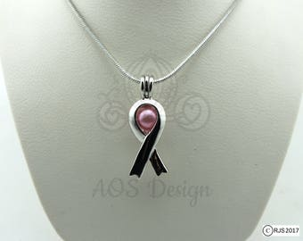 """Pick A Pearl Cage Necklace Silver Awareness Ribbon Charm Holds a Pearl Bead Gem 18"""" Silver Necklace"""