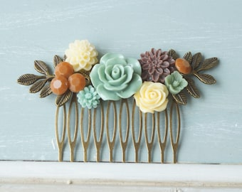 50% OFF SALE! Hair Comb,  sage, ivory, brown, resin flower hair accessory, bridal hair comb