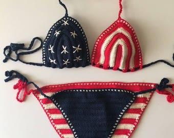 American Flag Bikini , USA Crochet Bikini Women Swimwear Swimsuit Two Piece Bathingsuit Flag Bikini Set Stripes and Stars 4th of July Bikini