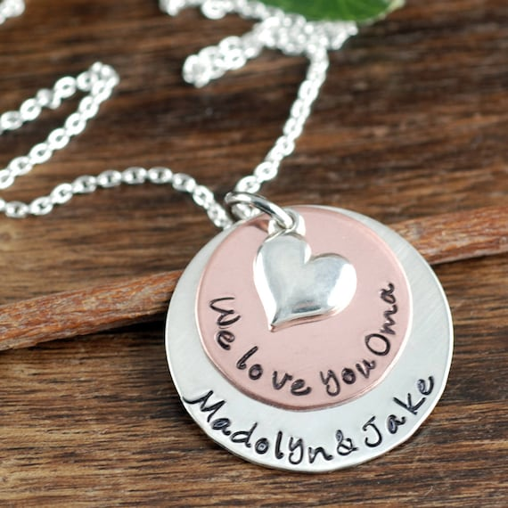 Personalized Grandma Necklace, Grandma Jewelry, Oma Necklace, Mixed Metal Necklace, Gift for Oma, Mothers Day Gift, Name Necklace