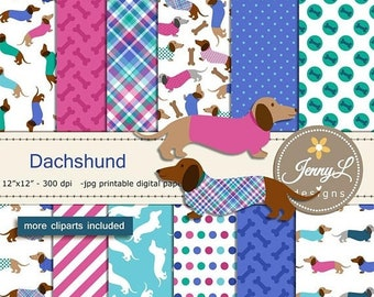 50% OFF Dachshund Dog Digital Papers and Clipart SET, Puppy, Doggie, Animal for Scrapbooking, Invitation, Birthday, Planners