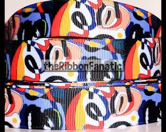 "5 yds 7/8"" Funky Abstract Art  Grosgrain Ribbon"