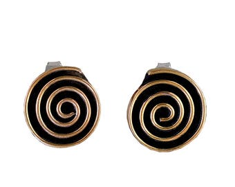 Gold spiral stud earrings, tumbaga jewelry, coil studs, thick earring, winding jewelry, gift idea under 25, contemporary studs, circle jewel