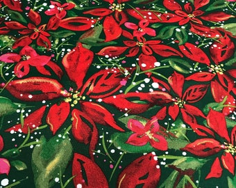 """Scatter Joy By Kathy Davis Christmas Poinsettia Green 100% Cotton quilting fabric 44"""" wide sold by the yard"""