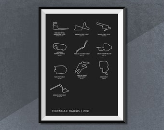 ABB FIA Formula E Championship 2018 Calendar Poster, Formula E Poster Print, FE Race Track World Circuit Map Poster 2018