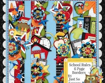 On Sale 50% Off Digital Scrapbooking Kit School Rules Page Borders - Digital Scrap Kit