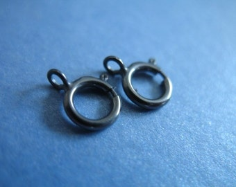 Oxidized Sterling Silver Springring Spring Ring Clasps, 10 pcs BULK, 6 mm, closed ring, for small to medium chains ox only