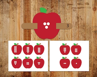 Digital Printable Montessori One to One Correspondence - Numbers 1-10 with Apples