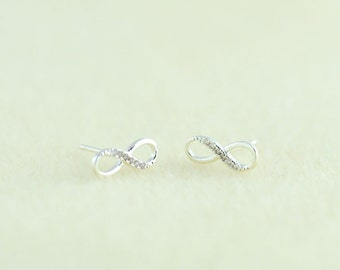 Silver Infinity Earrings, Infinity Stud Earrings, Infinity Studs, Infinity Posts Earrings, Infinite Love. Valentines Gift. Gift For Her.
