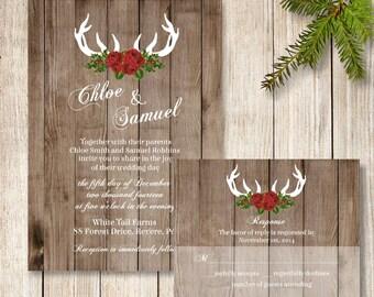 Winter Wedding Invitation, Rustic December Wedding Invitation, Deer Antler Wedding Invite, Christmas Wedding Invite, Holiday Wedding