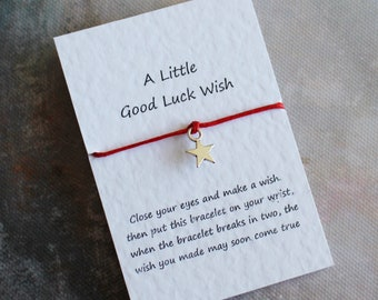 Wish Bracelet, a Little Good Luck Wish, Friendship Bracelet, Star Bracelet, Good Luck Card, Cord Bracelet, Gift For Her,