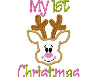Christmas Embroidery Design My 1st Christmas My First Christmas Girlie OR Boy Reindeer Digital Instant Download 4x4 and 5x7