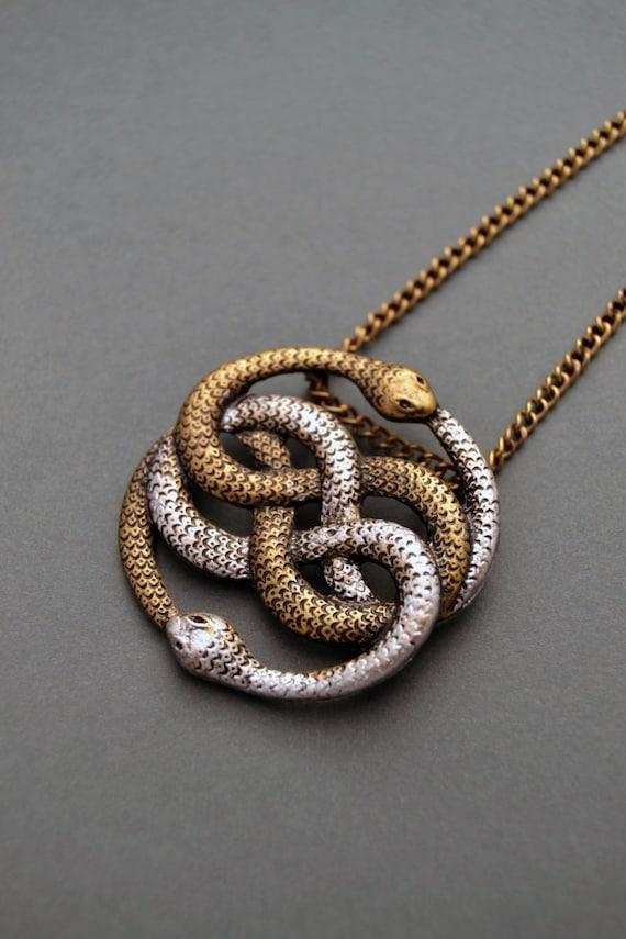 Auryn necklace infinite snake necklace snake jewelry snake auryn necklace infinite snake necklace snake jewelry snake knot necklace ouroboros necklace auryn pendant neverending story gift mozeypictures Choice Image
