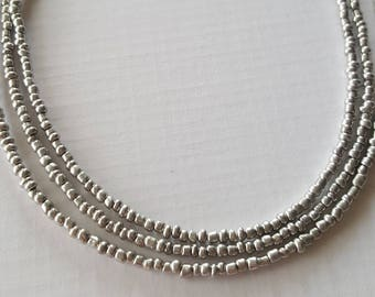 Silver seed bead necklace your choice of lengths - seed bead necklace - necklace - bead necklace - silver bead necklace - silver necklace